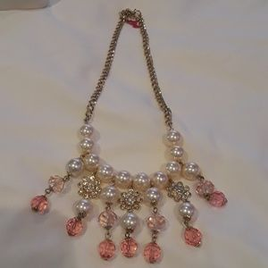 Betsy Johnson pearls, rinesthones necklace NWOT